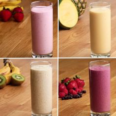Healthy Snacks Discover These 4 Easy Smoothies Are The Healthy Start Into Your Day That You Have Been Looking For! Freezer-Prep Smoothies 4 Ways Yummy Drinks, Healthy Drinks, Yummy Food, Healthy Recipes, Healthy Shakes, Healthy Food, Diet Recipes, Dinner Healthy, Refreshing Drinks