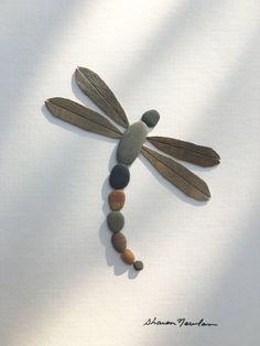 Dragon fly bois flotté et galet art par sharon nowlan par PebbleArt