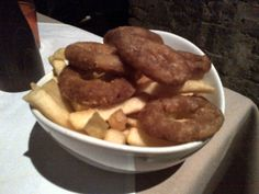 """Fries & Rings"""" (mixture of onion rings and French fries) @ Restaurant Frank's"""