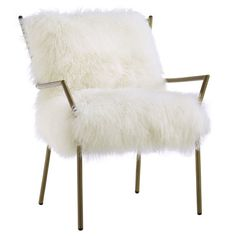 Add an indulgent touch of texture to your living room or den with this white sheepskin chair, showcasing an iron frame. Product: ...