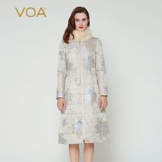 Find More Down & Parkas Information about VOA beige fox fur collar silk jacquard coat Slim long cotton padded jacket female winter down M7260 silver gray,High Quality jacket trench,China jacket kitty Suppliers, Cheap jacket pu from VOA Flagship Shop on Aliexpress.com