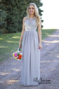 Delicate in Lace Bridesmaid Dress in Grey