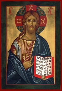 Vladimir Pantocrator--This Christ icon was chosen to be the main Christ icon for the iconostasis. I called it the Vladimir Christ as it is a composite of many, from my hand. Religious Icons, Religious Art, Life Of Christ, Jesus Christ, Transfiguration Of Jesus, Greek Icons, Roman Church, Images Of Christ, Byzantine Icons