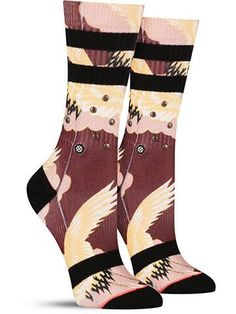 Stance is really mixing it up with these studded, sporty, Asian-inspired women's socks! In the pattern, we see wings and clouds. What do you see?