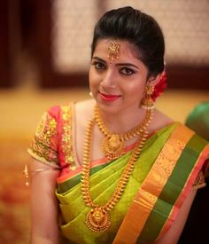 Beautiful South Indian Bride tag friends who is getting married this September South Indian Bridal Jewellery, Indian Bridal Fashion, Bridal Jewelry, Engagement Saree, Indian Engagement, Engagement Photos, Indian Bridal Hairstyles, South Indian Bride Hairstyle, Bridal Sarees South Indian