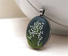 Polymer clay jewelry Lily of the valley by VintageFloralJewel