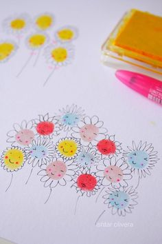 This field of daisies flower craft at Ishtar Olivera proves that fingerprint art doesn't have to be twee.