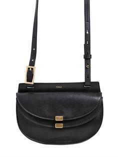 Chloé Mini Georgia Leather Shoulder Bag in Black, $1090.00