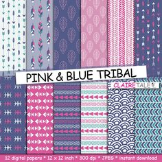 "Buy Tribal digital paper: ""PINK & BLUE TRIBAL"" with tribal patterns and tribal backgrounds, arrows, feathers, leaves, chevrons in blue and pink by clairetale. Explore more products on http://clairetale.etsy.com"