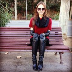 Fall Fashion Red sweater black OTK boots and gloves Gloves Fashion, Fashion Accessories, Leder Outfits, Long Gloves, Women's Gloves, Black Leather Gloves, Leather Jacket, Thigh High Boots, Fashion Outfits