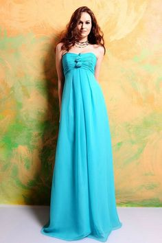 A-line Strapless Ruffles Sleeveless Floor-length Chiffon Bridesmaid Dresses/Prom Dresses/Evening Dresses Cute Wedding Dress, Fall Wedding Dresses, Colored Wedding Dresses, Wedding Gowns, Bridesmaid Dresses, Prom Dresses, Bridesmaid Color, Blue Bridesmaids, Dresses 2013