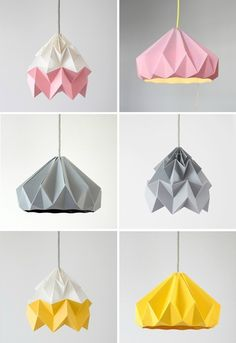 Origami Lamp Shades DIY and More, inspirations for any home, decor and interior design ideas. Origami Lamp Shades DIY and More, inspirations for any home, decor and interior design ideas. Diy Projects Origami, Origami Diy, Origami Lampshade, Paper Lampshade, Origami Love, Origami Paper, Lampshades, Diy Paper, Paper Crafts