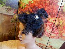Fascinator schwarz Damenhut Minihat Burlesque 50er