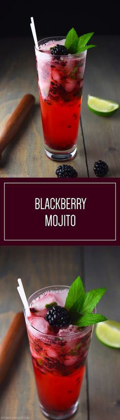 The traditional Cuban drink get a blackberry twist! Blackberry Mojito is a fun take on a classic cocktail. #Ad