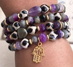 Excited to share the latest addition to my #etsy shop: Gemstone Bracelets, Hamsa Bracelets, Stack Bracelets, Stretchy Bracelets, Evil Eye Jewelry, Boho Bracelets, Tibetian Agate Bracelets