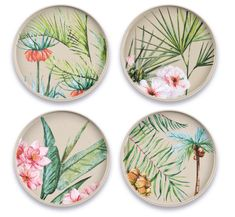 Palermo Tropical Bamboo Salad Plates Assorted Set of 4 By TarHong Plates And Bowls, Salad Plates, Plates On Wall, Plate Wall, Melamine Dinnerware, Dinnerware Sets, Palermo, Disposable Tableware, Home Technology