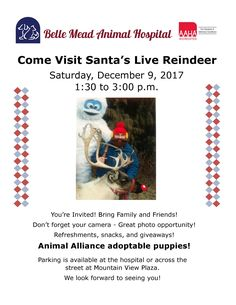 SAVE the DATE! Santa's Live Reindeer is visiting Belle Mead Animal Hospital and YOU are invited!