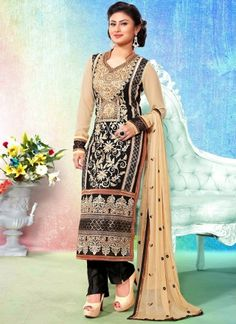 Cream With Black Embroidery Work Churidar Suit