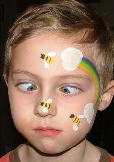 Awesome Face Painting Ideas For Kids Bee And Rainbow Face Painting Design.Bee And Rainbow Face Painting Design. Face Painting Tutorials, Face Painting Designs, Painting Patterns, Paint Designs, Body Painting, Simple Face Painting, Face Painting For Kids, Face Painting Images, Tinta Facial