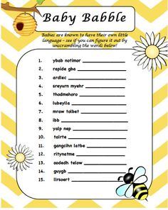 Bee Baby Shower Word Scramble Game - Instant Download