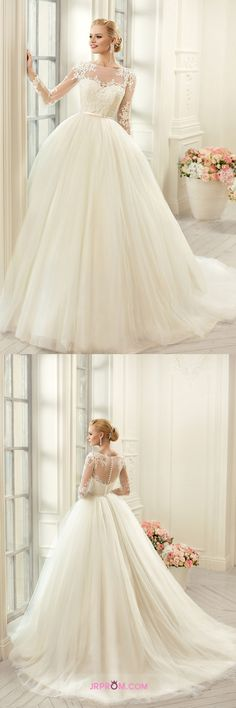 Ball Gown Wedding Dresses Scoop Long Sleeves With Applique And Sash Tulle Item Code:#JRP23DC7XP