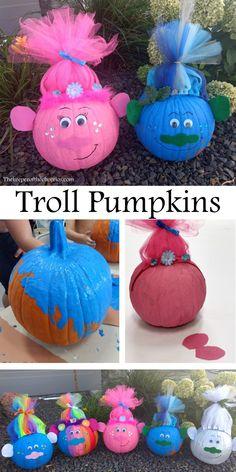 Troll Pumpkins Troll Pumpkins - The Keeper of the Cheerios Disney Halloween, Theme Halloween, Holidays Halloween, Halloween Pumpkins, Fall Halloween, Halloween Crafts, Holiday Crafts, Holiday Fun, Fall Crafts