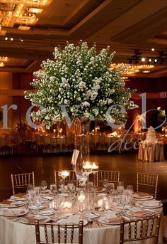 I'd do a little more with it but I love this type of center piece Tall Wedding Centerpieces, Wedding Venue Decorations, Wedding Table Flowers, Wedding Arrangements, Bridal Flowers, Floral Centerpieces, Wedding Themes, Floral Wedding, Floral Arrangements