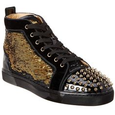 Christian Louboutin Lou Spikes Sequin Embossed Sneaker ($924) ❤ liked on Polyvore featuring men's fashion, men's shoes, men's sneakers, multi, shoes, mens black lace up shoes, christian louboutin mens shoes, christian louboutin mens sneakers, mens spiked shoes and mens lace up shoes