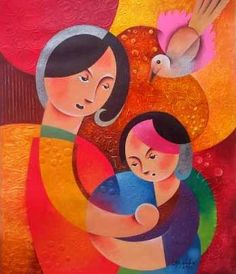 mother and child - Painting by Hermel Alejandre at touchtalent