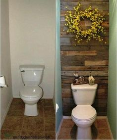 How to turn a boring 1/2 bath into a warm space with free salvage wood from palettes! Simply take apart the palette, cut to length, attach to wall behind, and voila!! You could also use barn wood or any other repurposed scrap wood that you like the look of. I saw this photo at www.facebook.com/AGatheringForKinderdSoulsLookingToLiveOffTheGrid