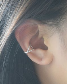 Crossed Wire Ear Cuff by Olive Yew. Handmade earring cuff is available in silver, gold and rose gold.