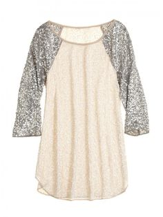 glitter sleeves baseball tee. oh my goodness, can i please have this