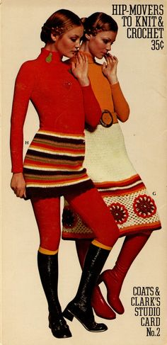 1970s Coats & Clarks Studio Card No 2 Hip Movers to Knit and Crochet Pattern Knickers Bloomers Mini Skirt Long Skirt. $6.00, via Etsy.