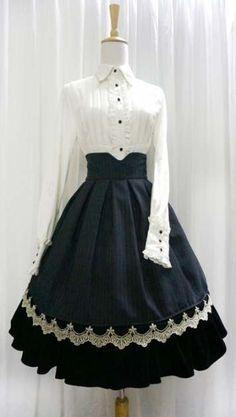 Classical lolita- Elegant Stripes Golden Edge High-waist skirt by Little-Dipper (Taobao) Pretty Outfits, Pretty Dresses, Beautiful Dresses, Cool Outfits, Cute Fashion, Vintage Fashion, Rock Fashion, Classic Fashion, Fashion Ideas