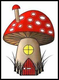 free mushroom house digital stamp set