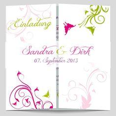 Die süßen Schmetterlinge & die frischen Farben der Ornamente – diese Hochzeitskarte punktet in allen Bereichen. Durch ein exklusives Papier verleihen Sie zusätzlich Eleganz.