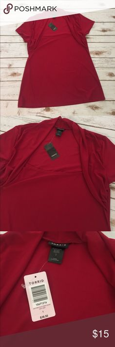 Torrid Red Retro Top, Plus Size 1X, Pin-up The perfect date night top!  Fabric around neckline shows off the girls perfectly.  Runs a tad small.  New, with tags. torrid Tops Blouses