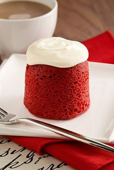 An easy dessert recipe for red velvet cake with cream cheese frosting ready in minutes from the microwave