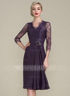 [US$ 116.99] Sheath/Column V-neck Knee-Length Chiffon Lace Mother of the Bride Dress With Beading Flower(s) Sequins