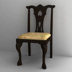3D Antique Chair Model - 3D Model