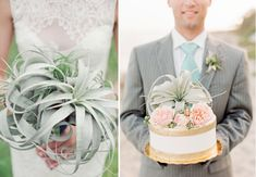 air plant wedding bouquet and air plant cake topper