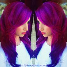 Pink to Purple dipdye. Magenta and purple hair