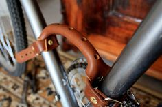 Bicycle handle Bicycle Leather Frame Handle by StoneHillshop
