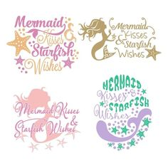 Mermaid Kisses Cuttable Design Cut File. Vector, Clipart, Digital Scrapbooking Download, Available in JPEG, PDF, EPS, DXF and SVG. Works with Cricut, Design Space, Cuts A Lot, Make the Cut!, Inkscape, CorelDraw, Adobe Illustrator, Silhouette Cameo, Brother ScanNCut and other software.