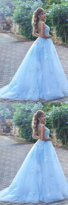 Light Blue Lace Appliques Ball Gown Prom Dress,Princess Wedding Dress #lightbluepromdresses #prom #dresses #longpromdress #promdress #eveningdress #promdresses #partydresses #2018promdresses #ballgown #eveninggown #promgown