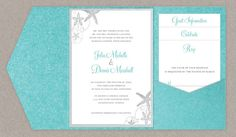 DIY Custom Wedding Invitation Suite - Beach Sea Shells Design Customized Printable PDF on Etsy, $45.00