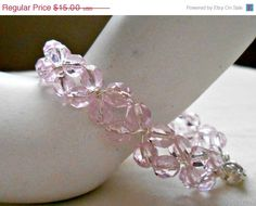 YEAREND Crystal Pink Fire Polished Czech Glass Beaded Silver Wire Wrapped Bracelet, Wrist size 7.25 by julesnkc on Etsy https://www.etsy.com/listing/189198049/yearend-crystal-pink-fire-polished-czech
