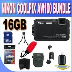 Nikon COOLPIX AW100 16 MP CMOS Waterproof Digital Camera with GPS and Full HD 1080p Video (Black) + 16GB SDHC Memory + SDHC USB Card Reader + Memory Card Wallet + Floating Strap + Shock Proof Deluxe Case w/Strap + Cleaning Kit + Accessory Saver Bundle! by Nikon. $340.99. Kit Includes! 1- Nikon COOLPIX AW100 w/ All Supplied Accessories 1- 16GB SDHC Memory Card (Don't Miss a Memory!) 1- USB SDHC Memory Card Reader (Download Images Quicker!) 1- Camera Floating Strap  1- Sho...