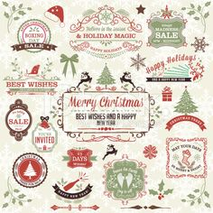 Retro Inspired Holiday Christmas Label Stamp Collection royalty-free stock vector art
