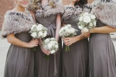 Winter Wedding Bouquets and bridesmaid dresses